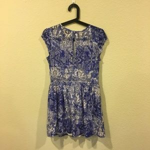 Topshop Dresses - Topshop blue and white lace dress